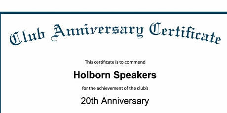 Holborn Speakers Online 20th Anniversary Celebration & Open House tickets