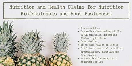 Nutrition and Health Claims for Nutrition Professionals and Food Businesses tickets