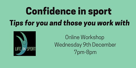 Confidence in sport - tips for you and those you work with tickets