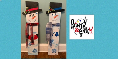 """Paint and Enjoy-Delta Pizza""""3 foot Snowman """"on Wood. tickets"""