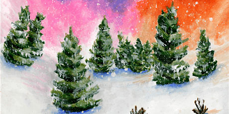 45min Snowy Trees Painting @1PM  (Ages  6+) tickets