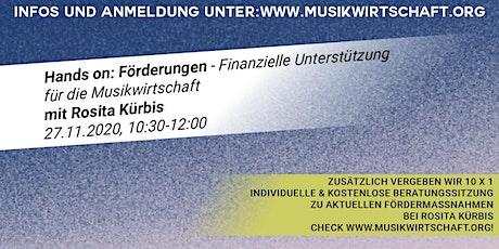 Hands on: Förderungen - Finanzielle Unterstützung für die Musikwirtschaft Tickets
