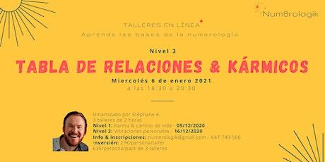 Taller de numerología #3: Tabla de relaciones & kármicos boletos