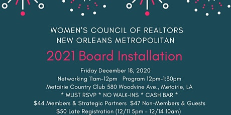 WCR New Orleans: 2021 BOARD INSTALLATION tickets