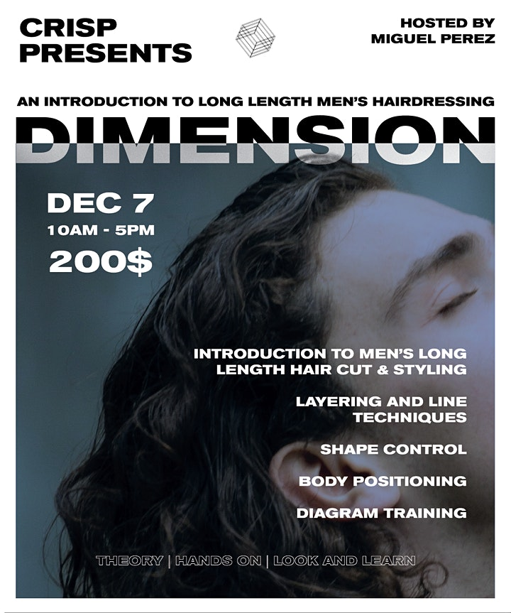 DIMENSION - 1 DAY INTRO COURSE TO MEN'S LONG LENGTH HAIRDRESSING | DEC 7 image