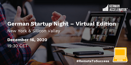 German Startup Night - Virtual Edition - New York & Silicon Valley tickets