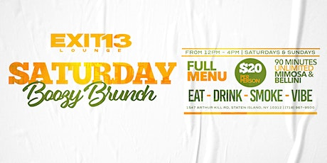 Saturday Brunch with $20 UNLIMITED Mimosa's & Bellini's! tickets