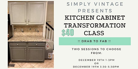 DIY Drab to Fab Kitchen Cabinet Transformation Class tickets