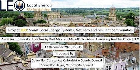 Project LEO: Smart Local Energy Systems, Net Zero and resilient communities tickets