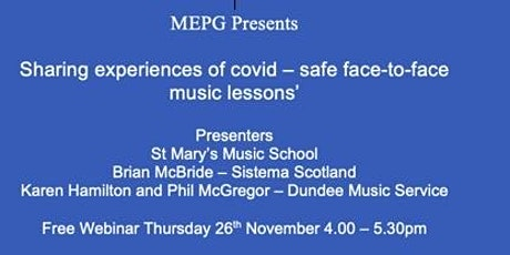 Sharing experiences of covid – safe face-to-face music lessons' tickets