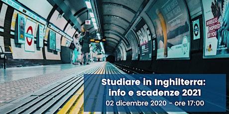 Studiare in Inghilterra: info e scadenze 2021 biglietti