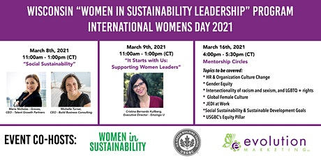 "Wisconsin ""Women in Sustainability Leadership Series"" Program for IWD 2021 tickets"