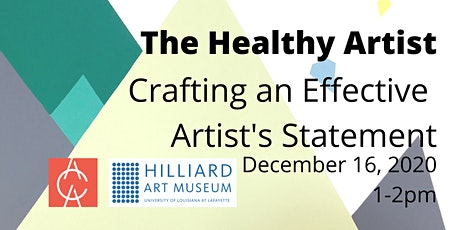 The Healthy Artist: Crafting an Effective Artist's Statement tickets