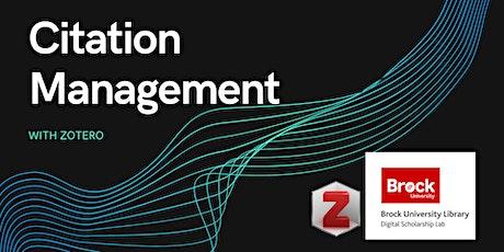 Citation Management with Zotero tickets