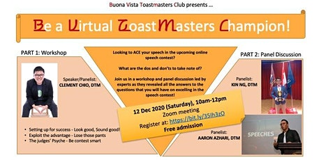 Buona Vista Toastmasters Club Workshop - Be a Virtual Toastmaster Champion! tickets