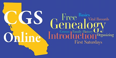 2021 Intro to Genealogy - 1st Saturday Free! Overview and Focused Topics tickets