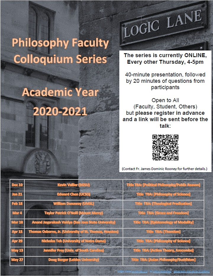 Philosophy Faculty Colloquium Series, 2020-2021 image