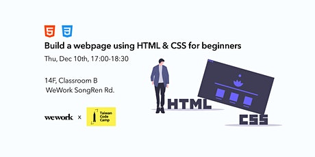 Learn how to build a webpage using HTML & CSS in 1.5hrs tickets