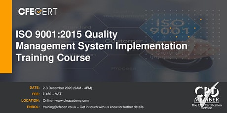 ISO 9001:2015 Quality Management System Implementation Training tickets
