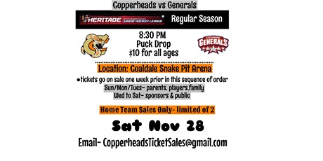 Copperheads Next Home Game vs. Cochrane Generals tickets