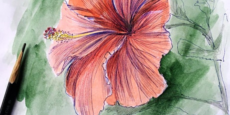 Flower sketching with watercolor tickets