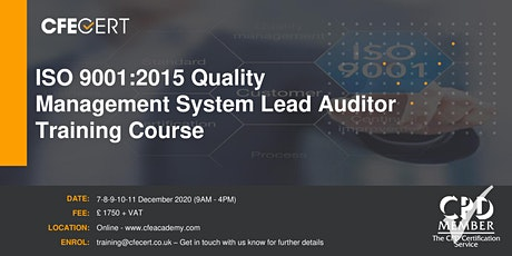 ISO 9001:2015 Quality Management System Lead Auditor Training tickets