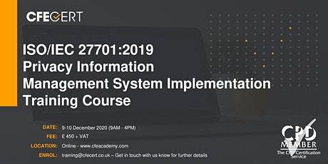 ISO/IEC 27701:2019 PIMS Implementation Training tickets