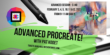 Advanced Procreate! with Pat Kodet  Session II: February 3, 4, 5, 10,11,12, tickets