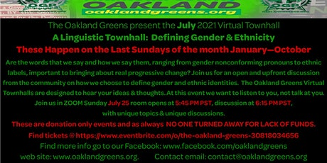 A Linguistic Townhall:  Defining Gender & Ethnicity tickets