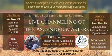 Thanksgiving Sunday: Live Channeling of the Ascended Masters: Free tickets