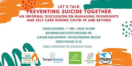 Preventing Suicide Together - an informal workshop for those aged 18-26 tickets