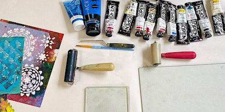 Gelli Plate Printmaking with home made stencils tickets