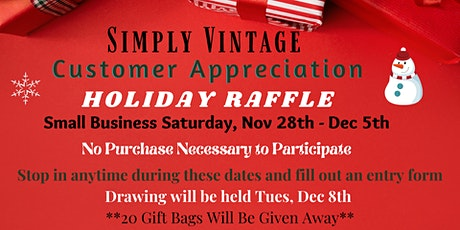 Simply Vintage Customer Appreciation Holiday Raffle tickets