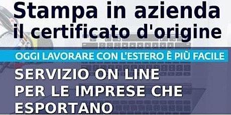 """Webinar """"Servizio di stampa in azienda dei certificati di origine"""" biglietti"""