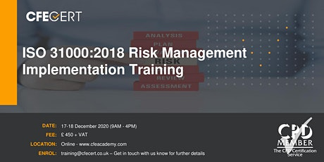 ISO 31000:2018 Risk Management Implementation Training tickets