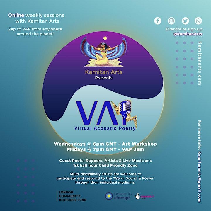VAP ART 2021 Wed Workshops - Virtual Acoustic Poetry by Kamitan Arts image
