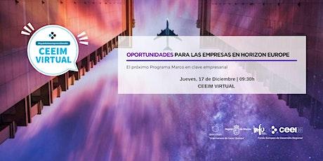 Oportunidades para las empresas en Horizon Europe boletos