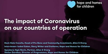 Webinar 03. The Impact of Coronavirus on Hope and Homes for Children tickets