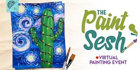"Virtual Paint Night - ""Saguaro Night"" (Online Painting Class) tickets"