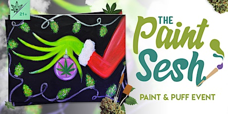"""Online Paint and Puff: """"Cannagrinch"""" - Virtual 420 Friendly Paint Night tickets"""