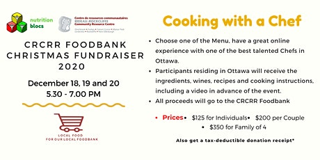 Cooking with a Chef - Rideau Rockcliffe CRC Foodbank Christmas Fundraiser tickets