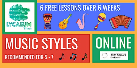 Music Styles (5-7yo's) - 6-Week Online Course - Pick Your Weekly Time Slot tickets