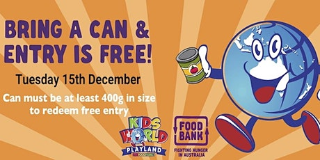FREE ENTRY DAY Kids World Playland - Swap a Can tickets