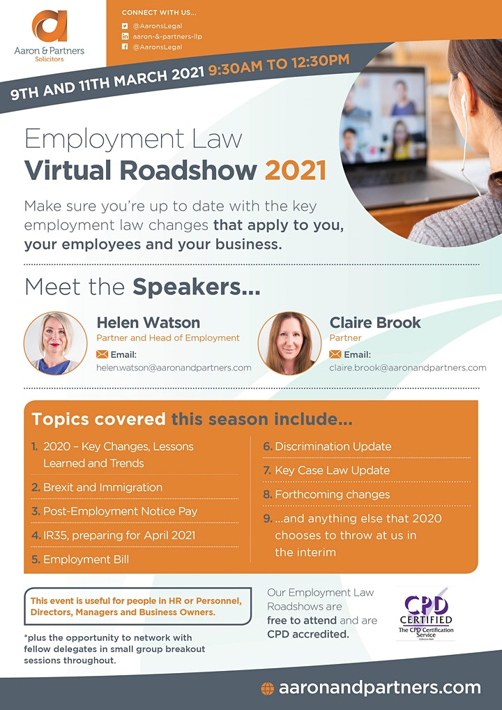 Aaron & Partners Employment Law Virtual Roadshow 2021 - 11th March image
