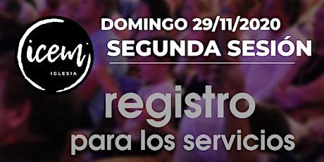 SEGUNDA SESIÓN  · Servicio del domingo 29 de noviembre [de 12:00h a 13:15h] entradas