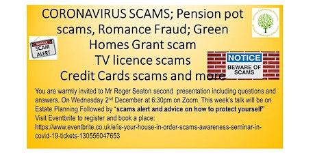 "Is Your House In Order  "" Scams Awareness Seminar"" in Covid-19 tickets"