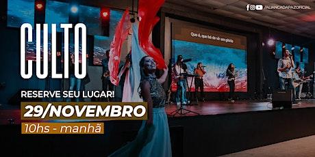 CULTO MANHÃ | Domingo 29/Novembro ingressos