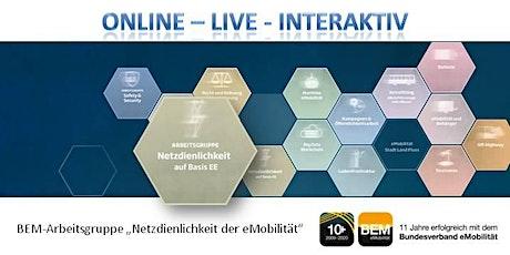 """ONLINE-BEM-Arbeitsgruppe """"Netzdienlichkeit der eMobilität"""" Januar 2021 Tickets"""