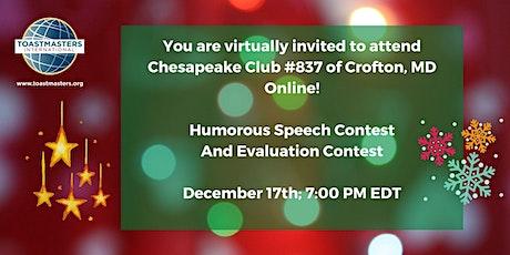 Chesapeake Club Toastmasters - Speech Contest! tickets