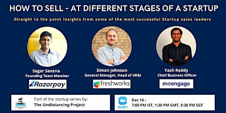 How to sell at different stages of a startup (Freshworks,Razorpay,Moengage) tickets